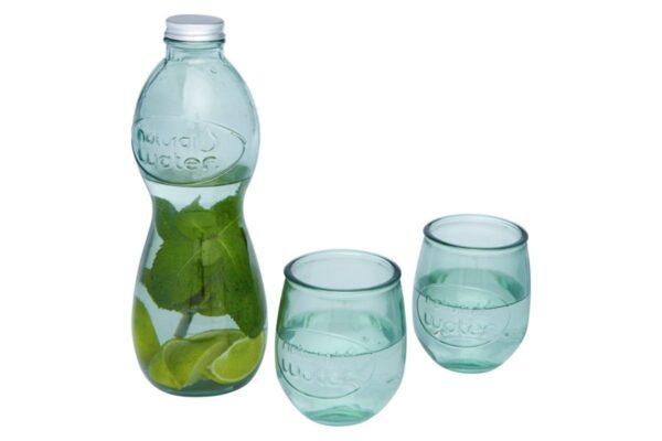 Ensemble carafe et tasse en verre recyclé